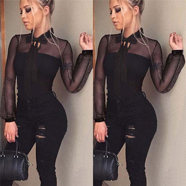 Women Transparent Tops Sexy Bodycon Long Sleeve lace bodysuit Jumpsuit Women Summer black sexy high waist causal Rompers#SA