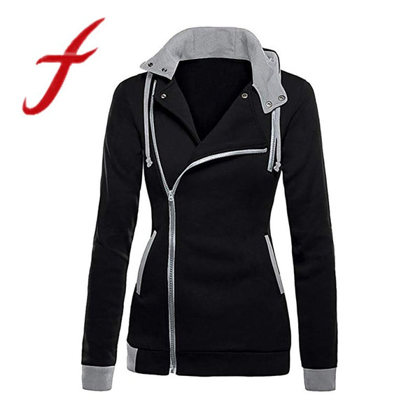 Zipper Hoodies Sweatshirts Oblique Slim Fit Hoodie Jacket Long Sleeve Coat Sweatshirt
