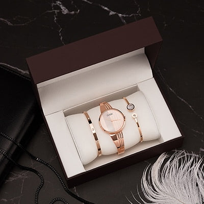 Gift box set ladies dress, bracelets steel watch simple style woman clock.