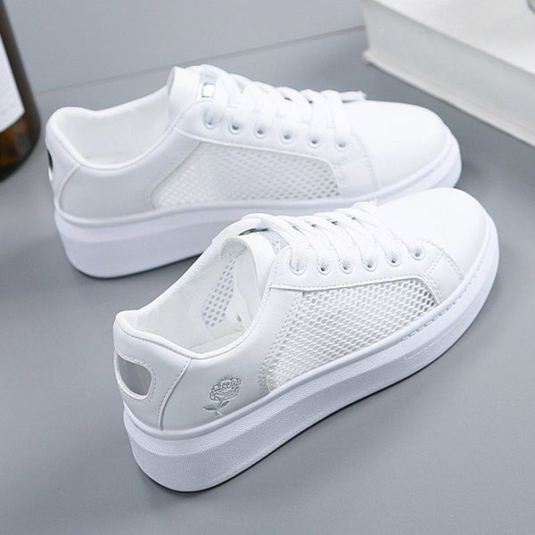 2019 Hot spring new wedge fashion white shoes female platform ladies casual shoes comfortable breathable mesh sneakers