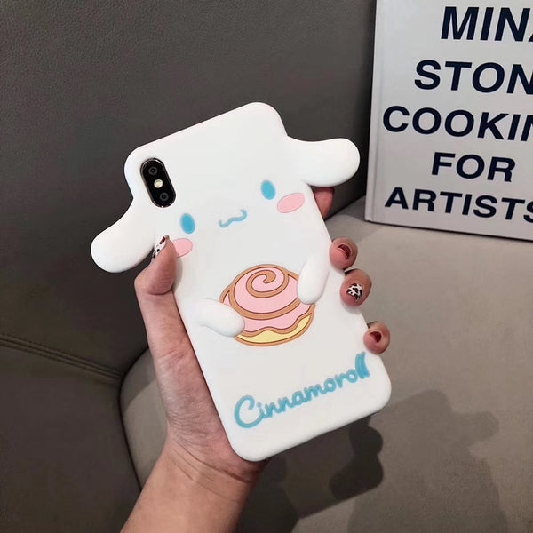 Luxury 3D Japanese cute cartoon Melody Cinnamoroll silicone phone case for iphone.