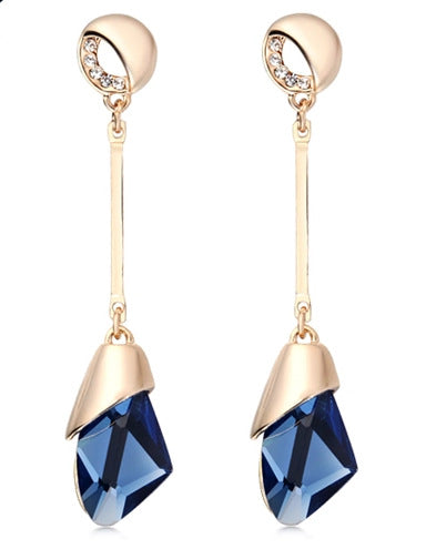 Crystal Gold Color Water Drop Earring Brincos Bijoux Jewelry