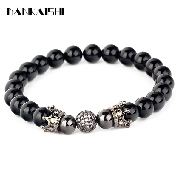 Crown Cz Ball Elastic Natural Black Onyx Stone Bead Bracelets Jewelry