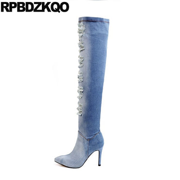 Stiletto Blue Denim Boots Pointed Toe Elastic Slim Women Over The Knee Stretch Cut Out Jeans High Heel Brand Long Shoes Autumn