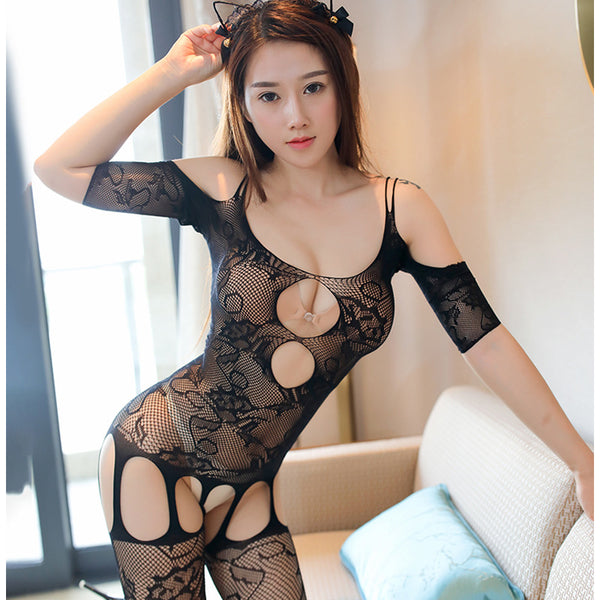 Free shipping!!!HOT SALE!!!Popular explosion Large size Open file perspective temptation one-piece stockings Free-style lingerie