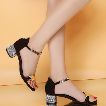 Luxury crystal Summer Women Sandals Open Toe Shoes Flicker Square Heel Shoes Gladiator Shoes #XTN