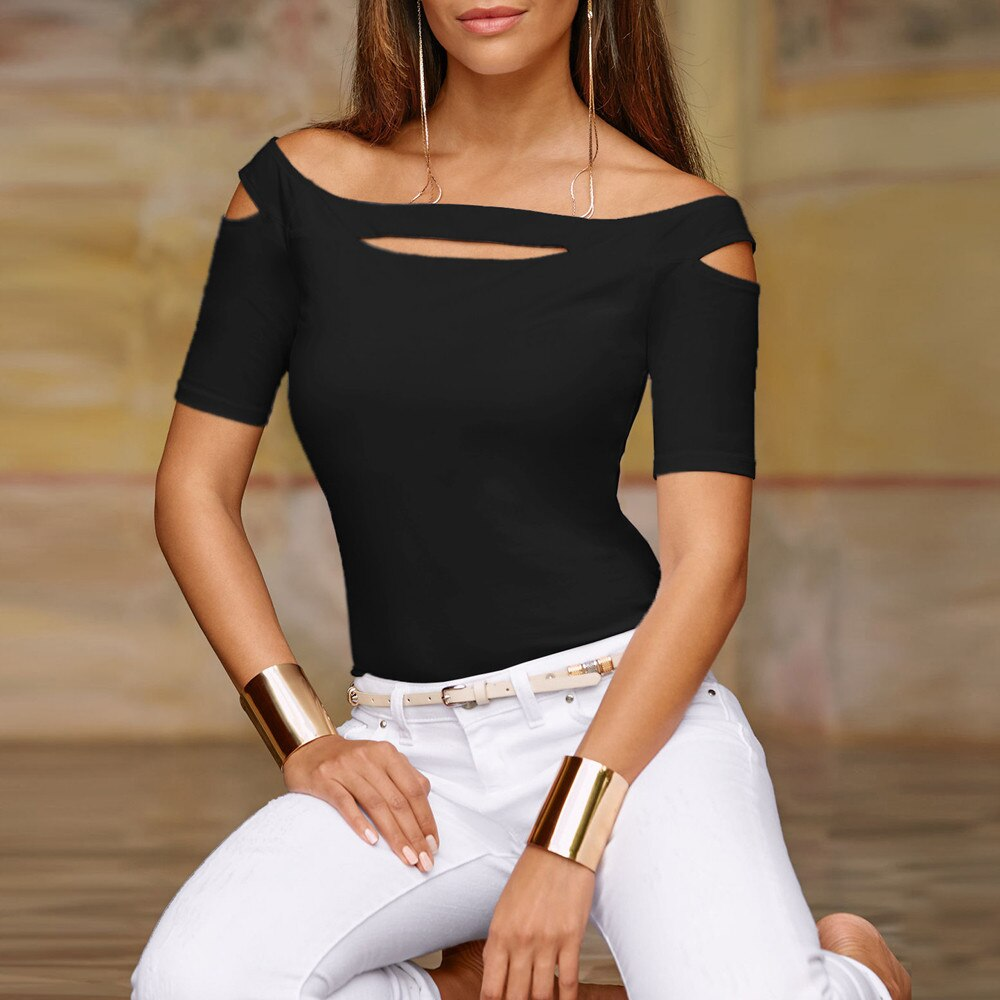 Casual Cold Shoulder Tops Slash Neck Short Sleeve T Shirt Tee