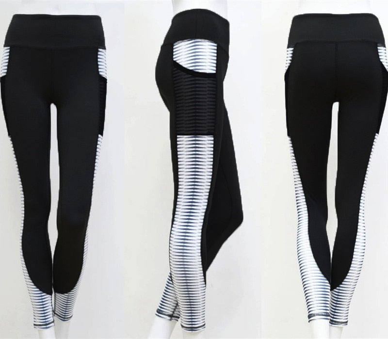 Pocket High Waist Leggings Women Fitness Workout Printing Trouser Fashion Patchwork Push Up