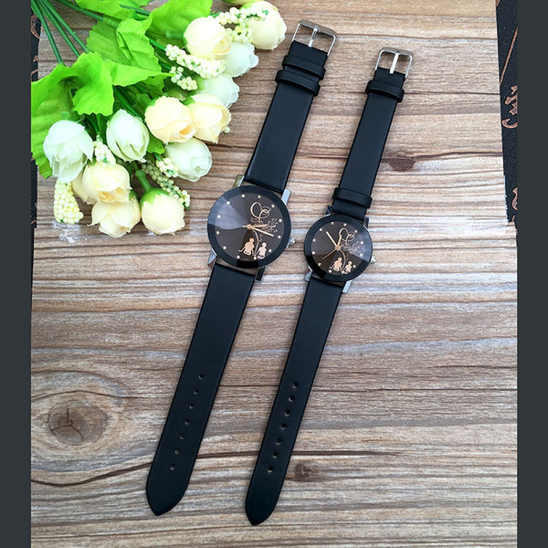 Minimalist Classic Quartz Watch Student Couple Stylish Spire Glass Belt Quartz wristwatches Lovers Casual simple Clock hours @F