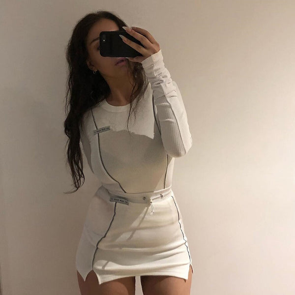Women Knitted 2 Pieces Set White Reflective Mini Skirt Match Suit Fashion 2019 Ladies Long Sleeve Top Shirt And Skirt Tracksuit