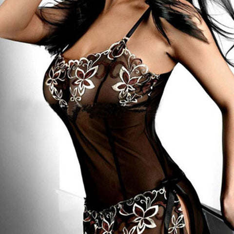 Sexy Lingerie Beautiful Women Sexy Lingerie Corset Lace Print Pajamas Clothing Skirts