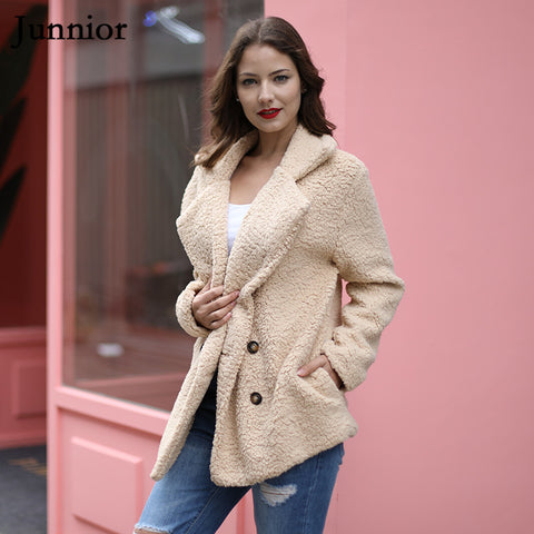 Solid Turn Down Lapel Fur Coat Open Stitch Fashion Female Jacket
