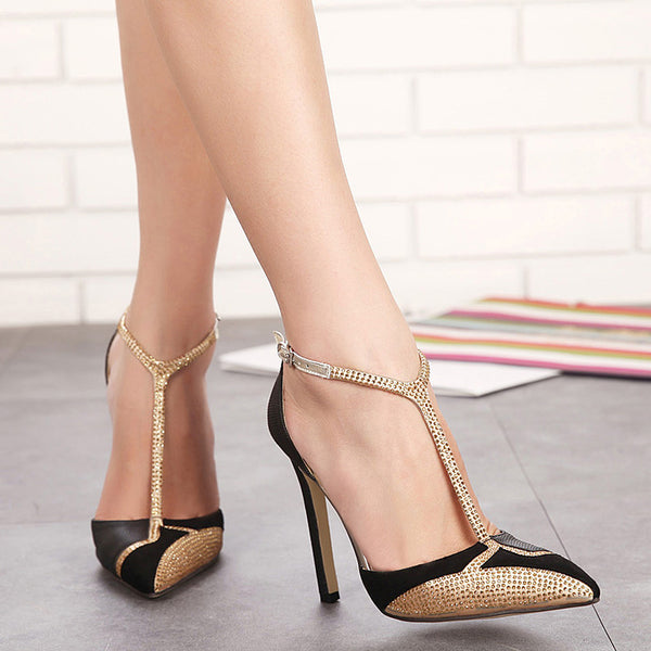 CPI Spring New Rhinestone High Heels Women Pumps Sexy Pointed Stiletto Heels Brand Mix color patchwork Gold Dress shoes EE-197