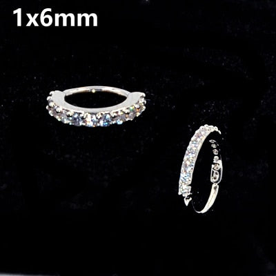 1PC Round Zircon Bendable Gem Ring Bendable Seamless Nose Ring.
