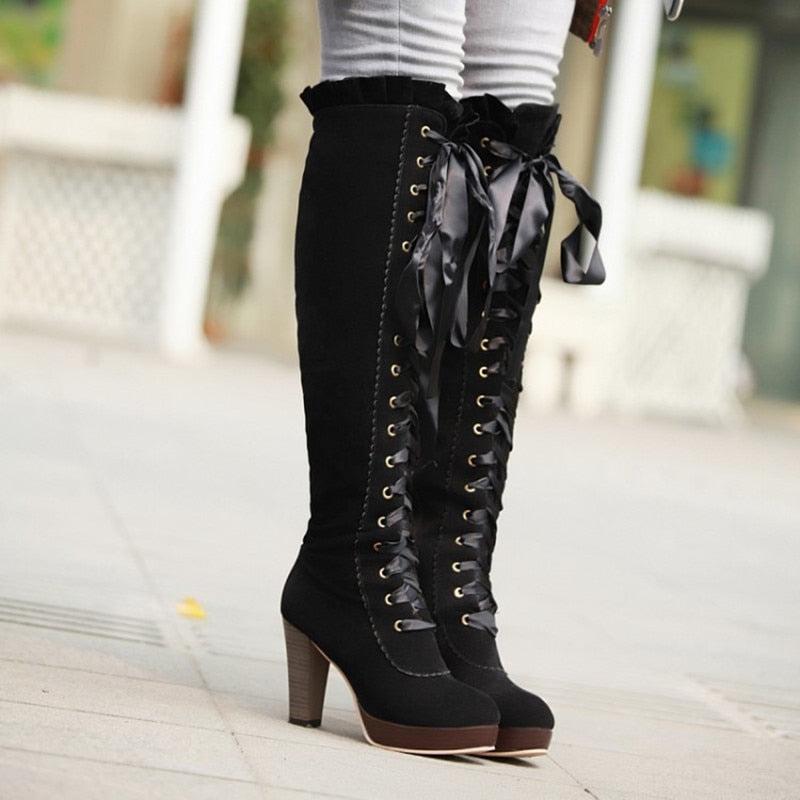 Winter Sexy Lace Up Knee-high Boot Female High Heels Leather.