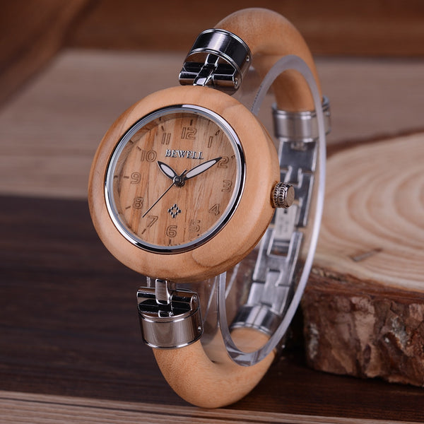BEWELL women's wood watch Ladies fashion Brand Street Snap Luxury Female Jewelry wristwatch Chronograph Drop Shipping 151a