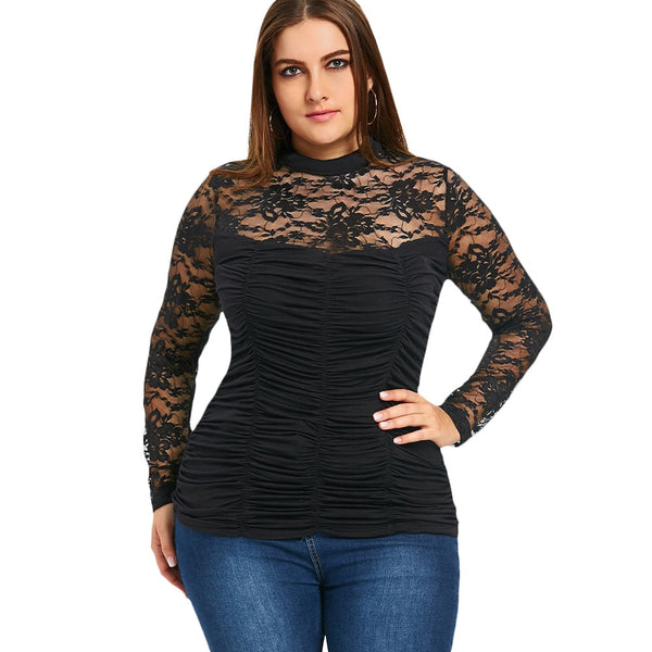 Casual Sheer Smocked Top Turtle Neck Slim Bottom Shirt