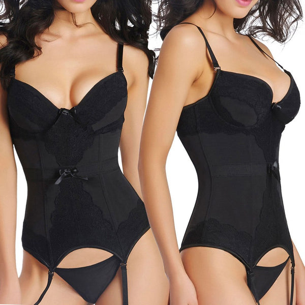 Thong Lady Fashion Women Bustier Corset Sexy Girdle Waist Bodydoll Sexy Lingerie Push Up Bra Panty Garters Sets Nightwear