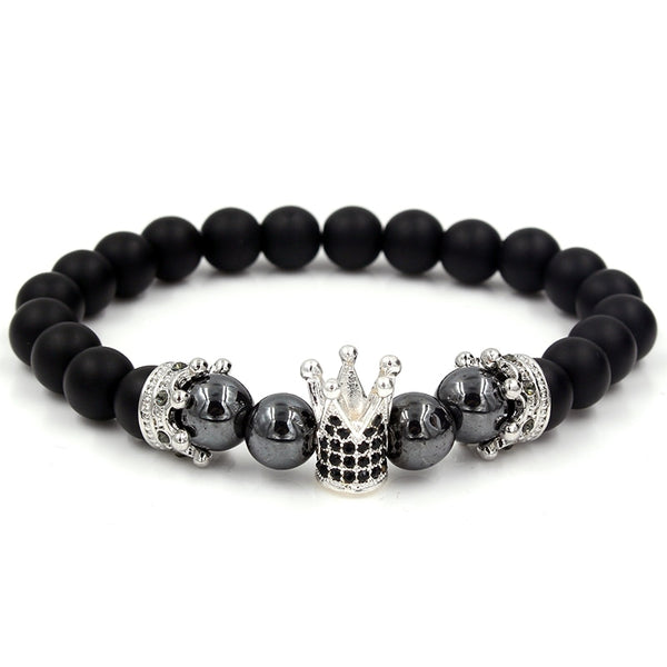 Natural Stone Beads Men Micro Pave CZ Crown Bracelets For Women Handmade Punk Yogi Elastic Bracelet Jewelry Pulseira hombres