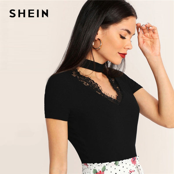 SHEIN Choker Neck Lace Trim Form Fitted Solid Women Tshirt Summer Black V Neck Short Sleeve Stretchy Elegant Ladies Tops