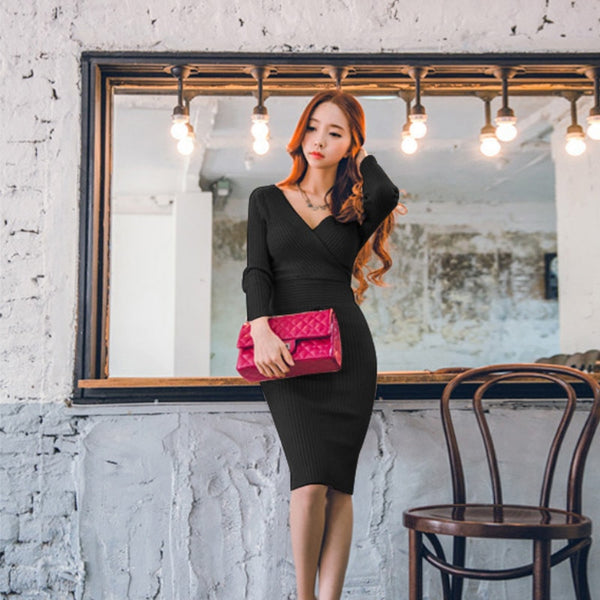 Knitted Cotton Skinny Sweater Dress V-neck Slim