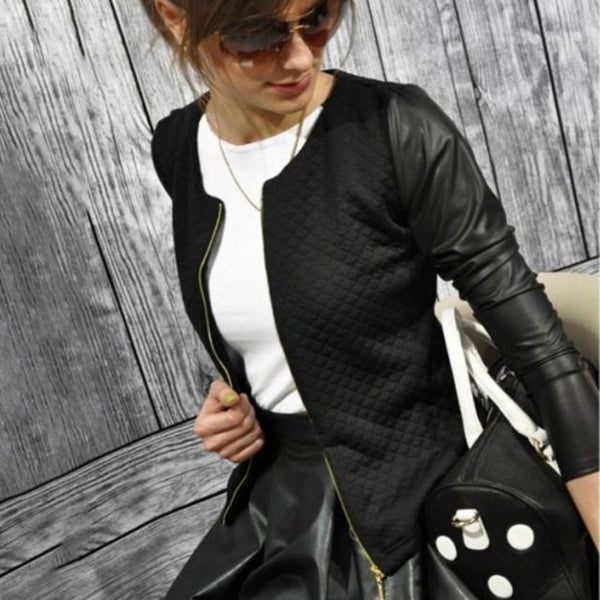 Press Cotton Leather Jackets Women Long Sleeve Autumn Winter Coat 2018 Black White Patchwork Slim Short Jackets with Zippers X2