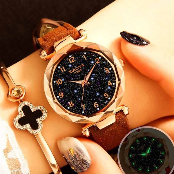 Starry Sky Quartz Wristwatches Ladies Luxury Golden Wrist Watches.