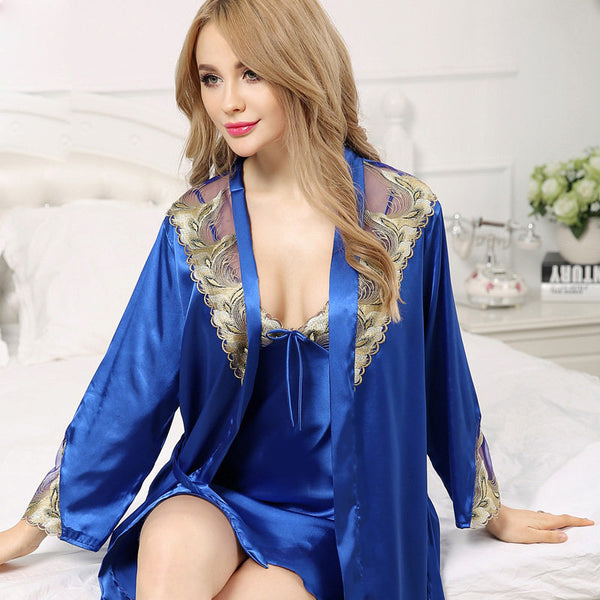 Sexy Silk Robe Sets Two-Piece Robe + Nightdress Satin Silk Bathrobes