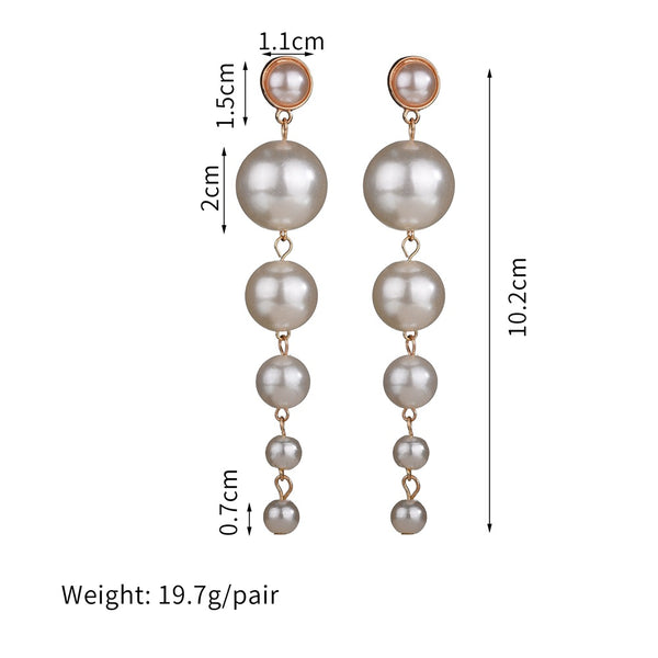 Pearl Long Earrings for Women Statement Drop Earrings for Wedding Party Office Lady Gift