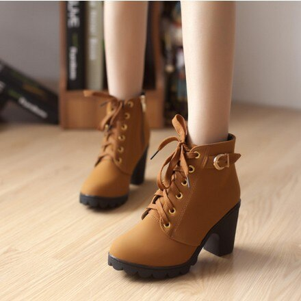 High Quality Lace-up PU leather fashion high heels boots.