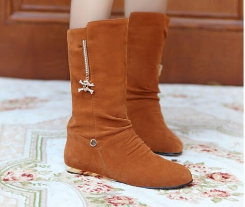 Mid-calf boots low heel 1.5cm round toe bottine
