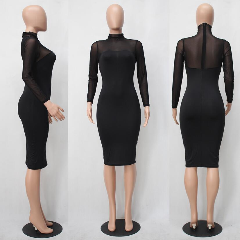 Long Sleeve Slim Black White Bodycon Dress.