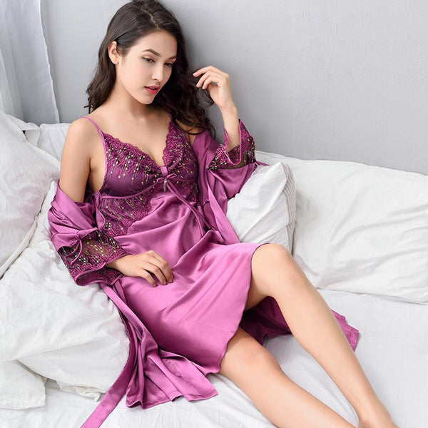 Robe Sets Female Sexy Satin Silk Sleepwear Women Lace V-Neck Embroidery Faux Silk Bathrobes Two-Piece