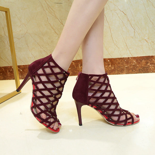 High Heels Shoes Rivet Roman Gladiator Solid Casual Sandals.