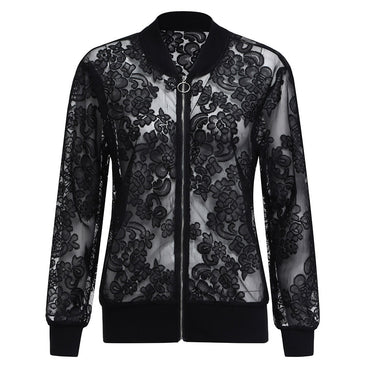 Clothing women's spring and summer large size lace jacket XL-5XL long-sleeved zipper solid color casual sunscreen jacket