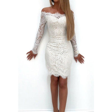 2017 new autumn Fashion Women off shoulder bodycon mini dress Long Sleeve sheer lace floral sexy pencil dress