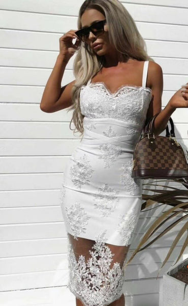 High Quality White Lace Slip Sleeveless Elegant Dress Evening Party Bodycon Dress