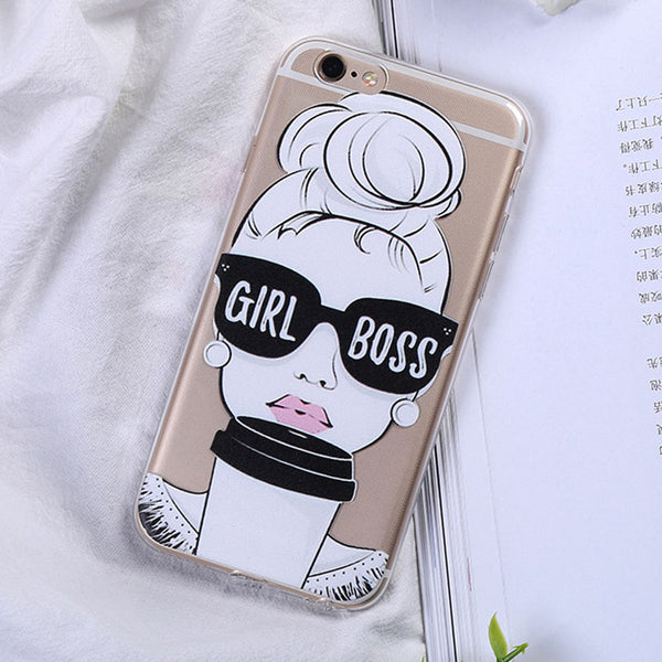 Cute Quote Girl Boss Case For iPhone 8 7 6 6S Clear For iiphone 7Plus Soft Phone Case Cover FOR iphone XS Max XR X Protective