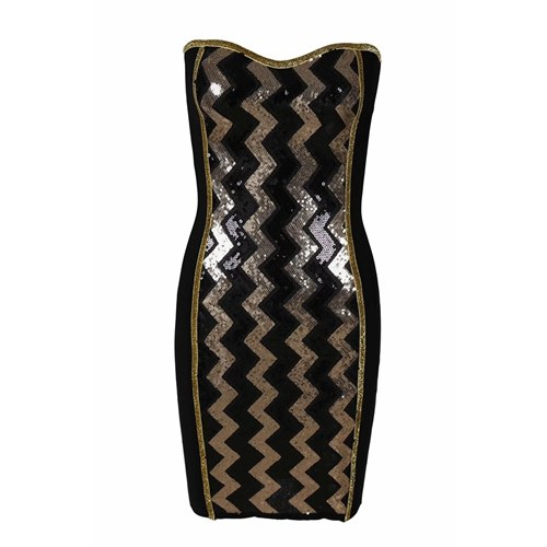 Sexy Strapless Mini Bandage Dresses Black Club Evening Party Dress
