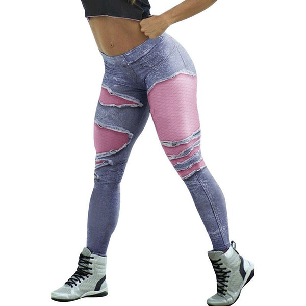 Fitness Leggings High Waist Sexy Hole Floral Print Casual Hollow Out Faux Denim Leggin Pencil Pants Plus Size