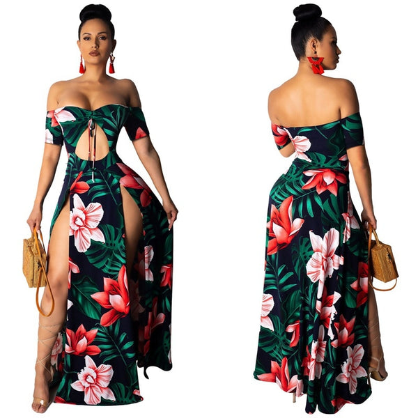 Summer Floral Off Shoulder High Spliced Long Dresses Retro Party Beach.