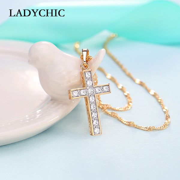 Gold Color Cross Pendant Necklaces for Women Trendy Classic Christian Jesus Crystal Necklace.
