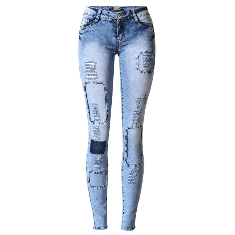 Ripped Jeans for Women Holes Skinny Jeans Slim Elastic Patchwork