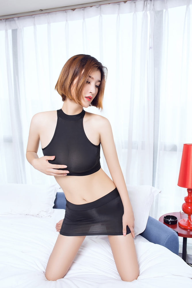MINI Skirt Open Chest See Through Bodysuit Ice Silk Transparent Club Dance Wear Sexy T-shirt 2PCS/Set F19
