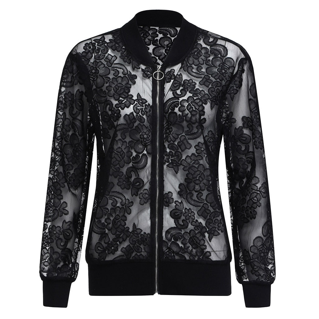 large size lace jacket XL-5XL long-sleeved zipper solid color casual sunscreen jacket