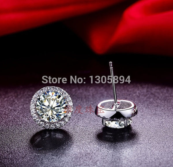 Diamond Stud Earrings For Women Sterling Silver Jewelry White Gold Cover