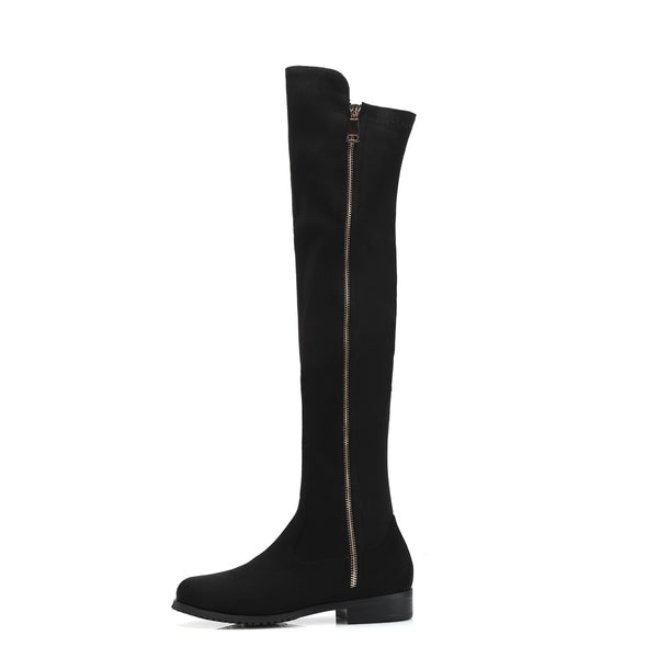 Soft Flock Leather Knee Winter Boots Comfortable Women Long Boots Shoes