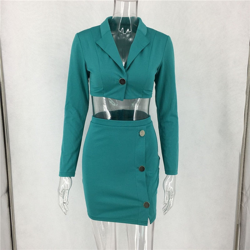 2 Piece Set Women Winter Set Long Sleeve and Skirt Outfits