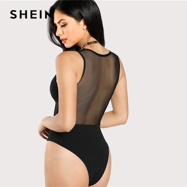 SHEIN Sexy Black Mesh Insert Hook and Eye Bodice Deep V Neck Mid Waist Sleeveless Skinny Sheer Bodysuit Women Summer Bodysuits