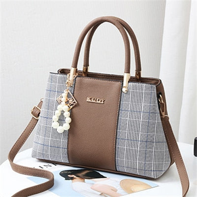 Leather Large Capacity Woman Handbag Grid Shoulder Bag Luxury Designer Crossbody Women Handbags